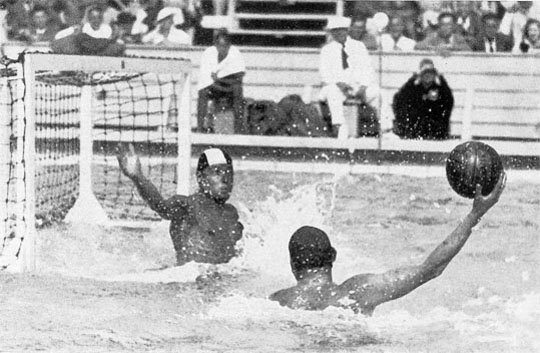 Water polo players competing at the 1936 Summer Olympics.
