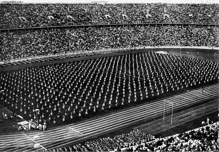 Likely the Opening Cermony, in the main Olympic stadium, of the 1936 Summer Olympics.