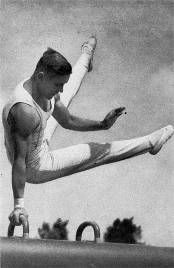 A gymnast competing on the pommel horse at the 1936 Summer Olympics.