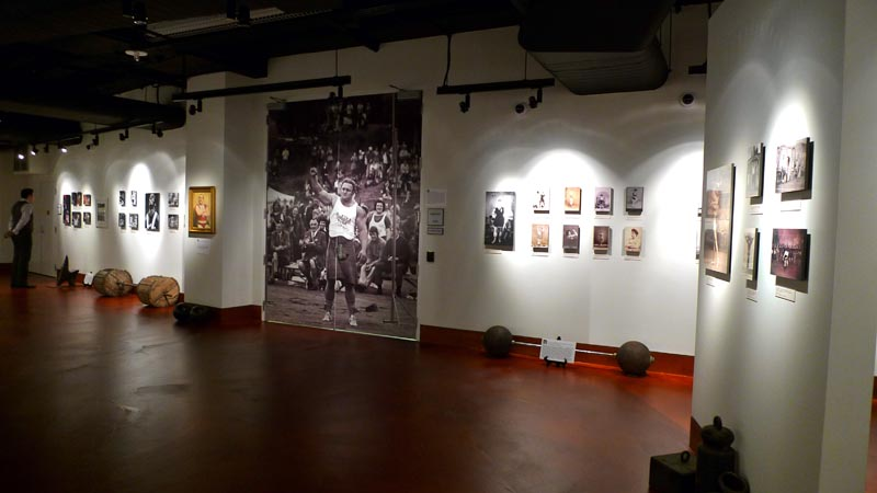 The Strongman Room, including a photograph of former World's Strongest Man strongman Bill Kazmaier, during the 2011 Opening of the Joe and Betty Weider Museum of Physical Culture.
