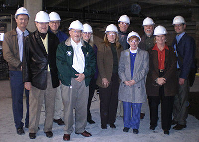 Stark Center co-founders Jan and Terry Todd, and members of the Board of Directors of the Nelda C. and H.J. Lutcher Stark Foundation, on a hard hat tour of the North End Zone (of Darrel K. Royal Memorial Stadium) construction site, in January 2008.