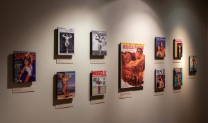 Eleven photographs, inlcuding covers of publisher Joe Weider's magazines Shape, Your Physique, Muscle, Muscle Power and Muscle and Fitness, in the Joe and Betty Weider Museum of Physical Culture.