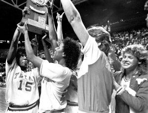 The 1986 University of Texas at Austin Women's Basketball National Champions, from the University of Texas Women's Basketball and Intercollegiate Athletics Collection.