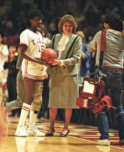 Former University of Texas women's basketball coach Jody Conradt, and basketball player Annette Smith, when Smith became the leading scorer in UT basketball history, from the Jody Conradt Collection.
