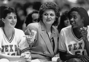 Former University of Texas women's basketball coach Jody Conradt and two Texas women basketball players, from the Jody Conradt Collection.