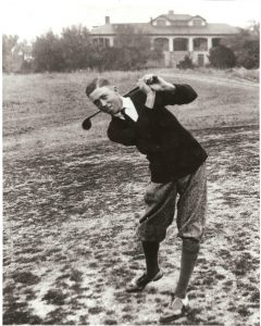 Former University of Texas golf coach Harvey Penick swinging a golf club, from the Harvey Penick and Tinsley Penick Golf Collection.