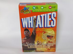 A Wheaties cereal box, featuring former University of Texas football coach Mack Brown, after Texas won the 2005 National Championship, from the Mack Brown Collection.