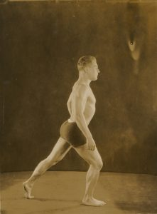 Bodybuilder Jesse Mercer Gehman, in a classical pose, from the Jesse Mercer Gehman Collection.