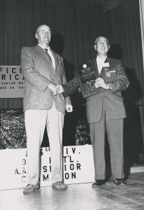 Bob Hoffman, of York Barbell Company and Strength and Health magazine, receiving an award, from the Bob Hoffman and Alda Ketterman Collection.