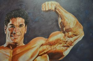 The painting of bodybuilder Lou Ferrigno, who played the Incredible Hulk on television, in a front biceps pose, by Thomas Beecham, from the Thomas Beecham Collection, donated by Joe and Betty Weider.