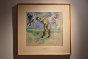 Drawing of former University of Texas golfer Ben Crenshaw, by Harold Riley, from the Joan Whitworth/Harold Riley Art Collection, in the Harold Riley Takes Dead Aim Gallery.
