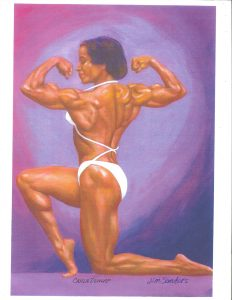 Painting of bodybuilder Carla Dunlap, in a back double biceps pose, by Jim Sanders, from the Jim Sanders A.O.B.S. (Association of Oldetime Barbell and Strongmen) Art Collection.