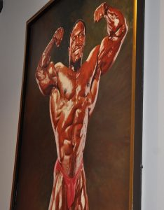 Painting of bodybuilder Lee Haney, in a front double biceps pose, by Thomas Beecham, from the Thomas Beecham Collection; donated by Joe and Betty Weider.