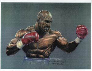 Painting of boxer Evander Holyfield, by Jim Sanders, from the Jim Sanders A.O.B.S. (Association of Oldetime Barbell and Strongmen) Art Collection.