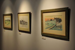 Three golf drawings from the Joan Whitworth/Harold Riley Art Collection, in the Harold Riley Takes Dead Aim Gallery.
