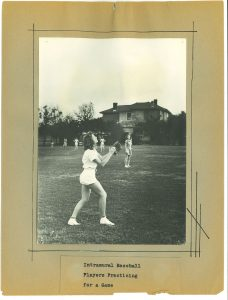 Page from the book Action Pictures: Women's Sports: 1937-1938; 1938-1939; 1940-1941, depicting a photograph of Intramural Baseball Players Practicing for a Game, by Miss Anna Hiss, Director Physical Training for Women (at the University of Texas), from the Anna Hiss Collection.