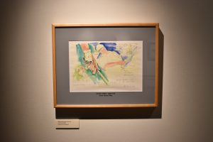 Drawing of former University of Texas golfer Tom Kite, by Harold Riley, from the Joan Whitworth/Harold Riley Art Collection, in the Harold Riley Takes Dead Aim Gallery.