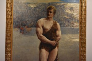Painting of bodybuilder Eugen Sandow as a Roman Wrestler, by E. Aubrey Hunt, from the Weider Art Collection, in the main lobby.