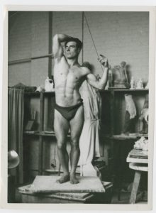 Bodybuilder Stanley Rothwell, in a classical pose, from the Stanley Rothwell Collection.