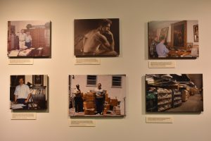 Six photographs of Stark Center co-founder Terry Todd, including one of Todd in Anna Hiss Gym, and another with boxes of the material in the Todd-(Roy J.) McLean Collection, in the He Liked Big Things Gallery, in the main lobby.