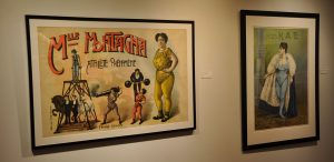 Posters for the strongwoman Mademoiselle Montangna showing her holding a cannon while it fires and many other feats; and strongwoman Miss Kae posed in her strongwoman outfit, both from the Todd Poster Collection, in the Teresa Lozano Long Art Gallery, in the main lobby.