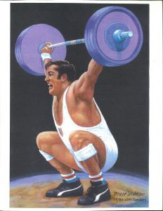 Painting of United States weightlifter Bruce Wilhelm pressing a barbell overhead with two hands, by Jim Sanders, from the Jim Sanders A.O.B.S. (Association of Oldetime Barbell and Strongmen) Art Collection.
