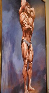 Painting of bodybuilder Frank Zane, in a front lat spread pose, by Thomas Beecham, from the Thomas Beecham Collection; donated by Joe and Betty Weider.