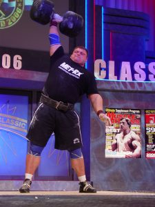 Strongman Zydrunas Savickas doing six repetitions in the 195 circus dumbbell event, while winning his third straight Arnold (Schwarzenegger) Strongman Classic in Columbus, Ohio