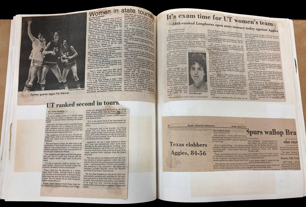 Photo of a page from Jody Conradt's 1967-1977 scrapbook