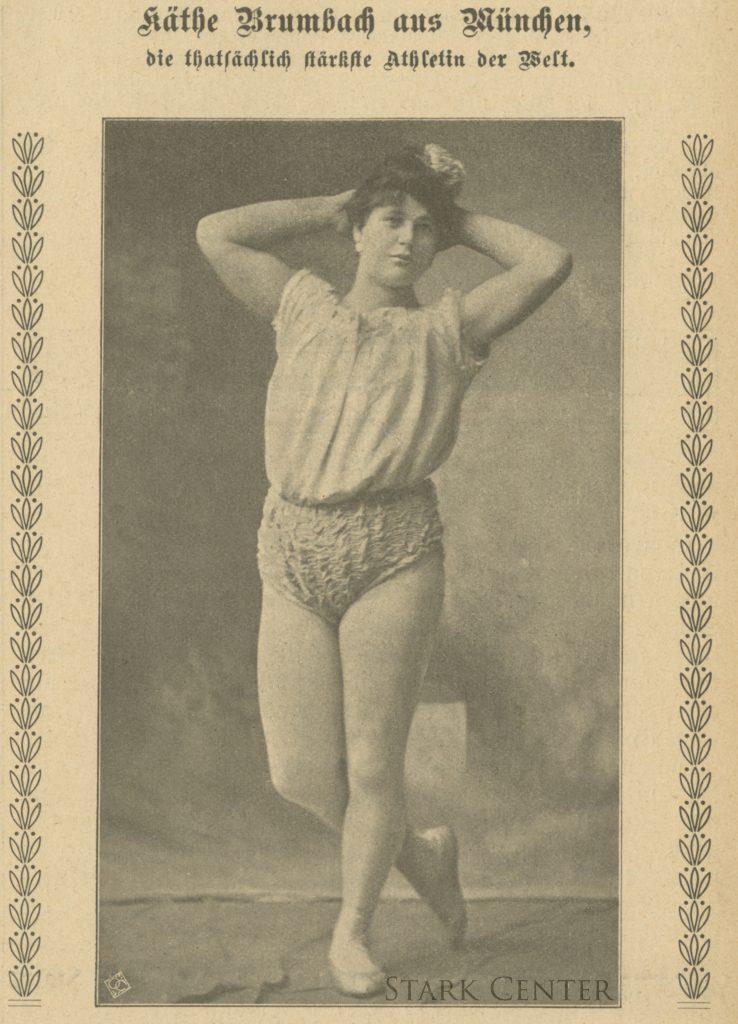 Photograph of Katie Sandwina posing from a German publication.