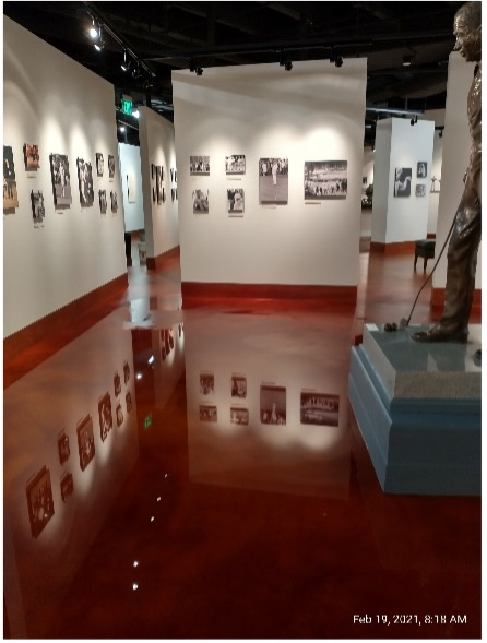 The golf gallery was virtually filled with water as the reflected image demonstrates.