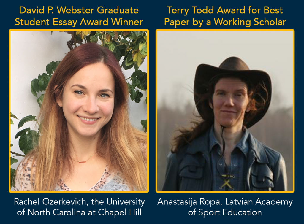 Headshots for the winners of the David P. Webster Graduate Student Essay Award and the Terry Todd Award for Best Paper by a Working Scholar.