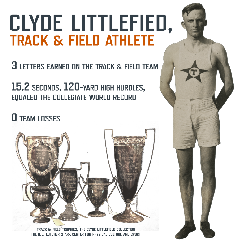 Infographic of Clyde Littlefield as track & field athlete. 3 letters earned on the track & field team. 15.2 seconds, 120-yard high hurdles, equaled the collegiate world record. 0 Team losses. Photo of Clyde. Photo of Track & Field trophies won by Clyde.