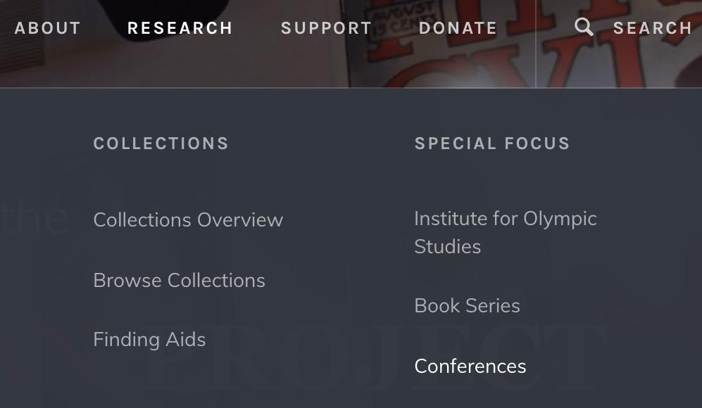 A screen shot of the drop down menu under 'Research.'