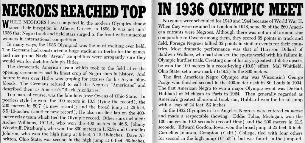 An article from Ebony Magazine about the 1936 Olympic Games.