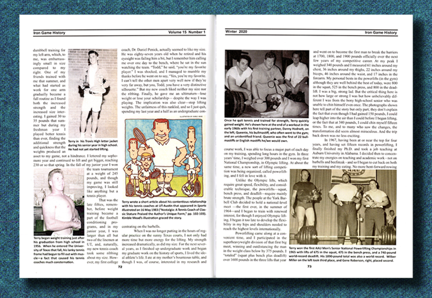Scan of pages 72 and 73 from Iron Game History Vol. 15 No. 1